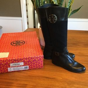 RARE Tory Burch Navy and Black Riding Boots